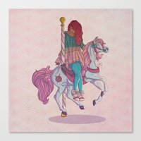 carousel Canvas Prints featuring Carousel by Leigh Wortley