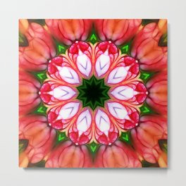 Peachy Pink Abstract Floral Tile 34 Metal Print