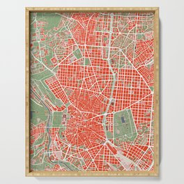 Madrid city map classic Serving Tray