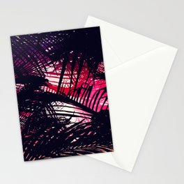 Tropical Purple and Red Sunset Palm Fronds Stationery Cards
