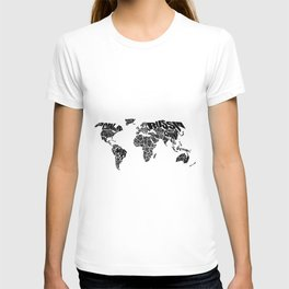 World Word Map - Black and White T-shirt