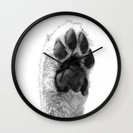 Black and White Dog Paw Wall Clock