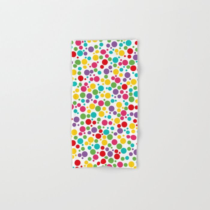 Colorful Abstract Rainbow Polkadot Hand Bath Towel