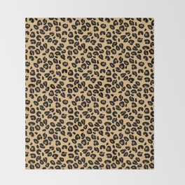 Classic Black and Yellow / Brown Leopard Spots Animal Print Pattern Throw Blanket