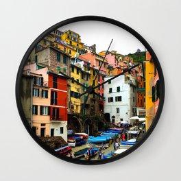 Cinque Terre Boats & Colorful Homes Wall Clock