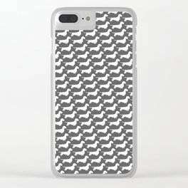 White Wirehaired Dachshund Silhouette Clear iPhone Case