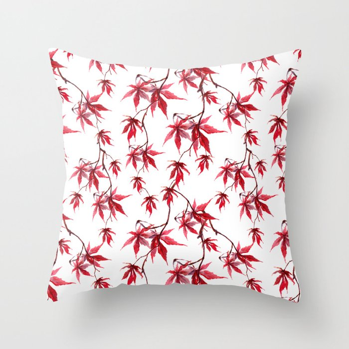 Watercolor Botanical Red Japanese Maple Leaves on Solid White Background Throw Pillow