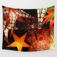 lanterns Wall Tapestries featuring Paper Lanterns by ann hsieh