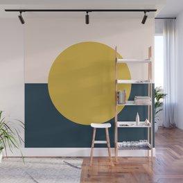Horizon. Mustard Yellow Sun Dot on Pale Blush Pink and Navy Blue Color Block. Minimalist Geometric Wall Mural