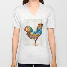 Colorful Rooster Art by Sharon Cummings Unisex V-Neck