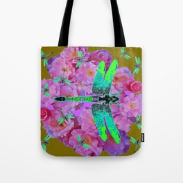 EMERALD DRAGONFLIES  PINK ROSES AVOCADO COLOR Tote Bag