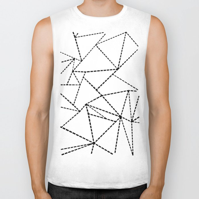 Abstract Dotted Lines Black and White Biker Tank