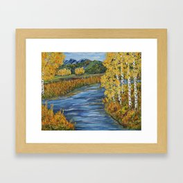 Autumn in the Mountains, Fall Decor, Aspen Birch Tree Painting Framed Art Print