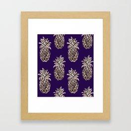 Gold Pineapples on purple Framed Art Print