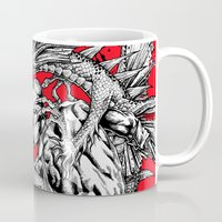gladiator Mugs featuring Dragon Vs. Gladiator by Matthew Fields Robinson