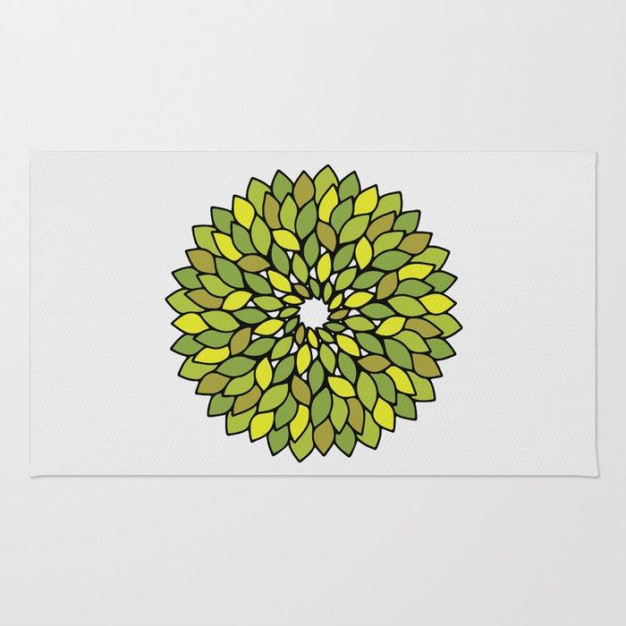 Green Leaf Mandala Rug