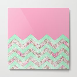 Girly Mint Green Pink Floral Block Chevron Pattern Metal Print