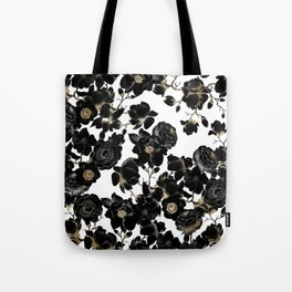 Modern Elegant Black White and Gold Floral Pattern Tote Bag