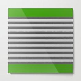 Green Black White Stripes Metal Print