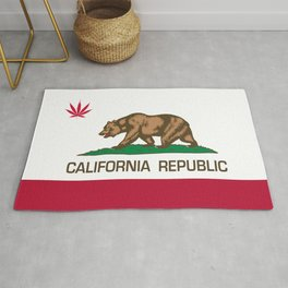 California Republic state flag with red Cannabis leaf Rug