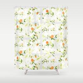 Orange Blossom Pattern Shower Curtain