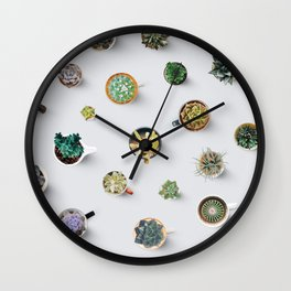 Coffee time. Cactus and succulents pattern Wall Clock