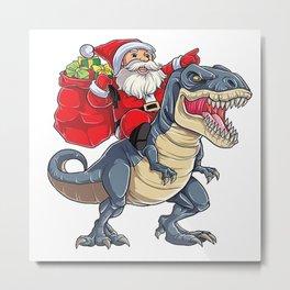 Santa Riding Dinosaurus Metal Print