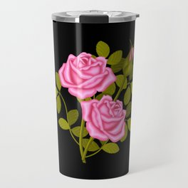 Painted Pink Roses Travel Mug