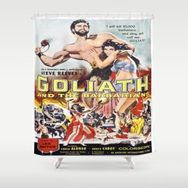 Vintage poster - Goliath and the Barbarians Shower Curtain