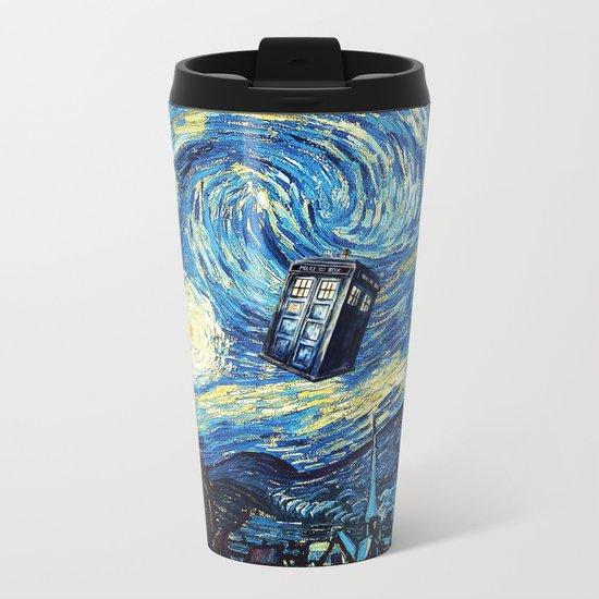 Tardis Starry Night Art Painting Metal Travel Mug
