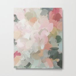 Forest Green Fuchsia Blush Pink Abstract Flower Spring Painting Art Metal Print