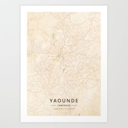 Yaounde, Cameroon - Vintage Map Art Print