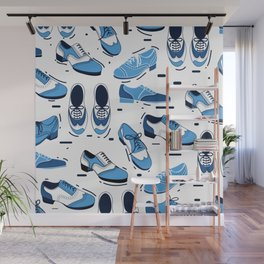Blue Dance Shoes Dancing Pattern Wall Mural