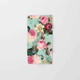 Vintage & Shabby Chic - Summer Teal Roses Flower Garden Hand & Bath Towel