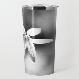 Black and White Flower Photography, Dark Grey Nature Photo, Gray Neutral Modern Floral Botanical Travel Mug