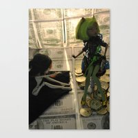monster high Canvas Prints featuring Greed - As Told By Monster High Dolls by Lydia Schoepflin