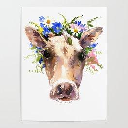 Cow Head, Floral Farm Animal Artwork farm house design, cattle Poster