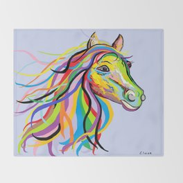 Horse of a Different Color Throw Blanket