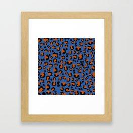 Jungle - Leopard Pattern Blue Framed Art Print