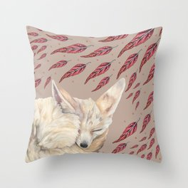 Fennec Fox Feather Dreams in Taupe Throw Pillow