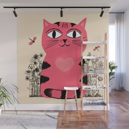 Bright Eyed Pink Heart Kitty In The Flower Garden Wall Mural
