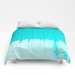 Modern turquoise ombre white abstract watercolor brushstrokes Comforters