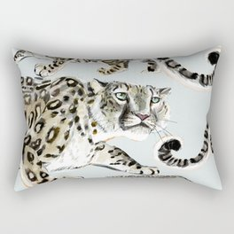 Snow leopard in ice grey Rectangular Pillow