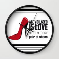 all you need is love Wall Clocks featuring All you need is love! by Golosinavisual