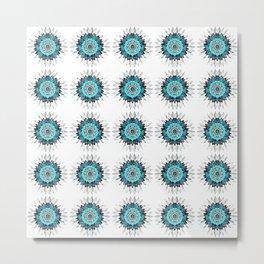 Rustic Turquoise Mandala Tile Metal Print