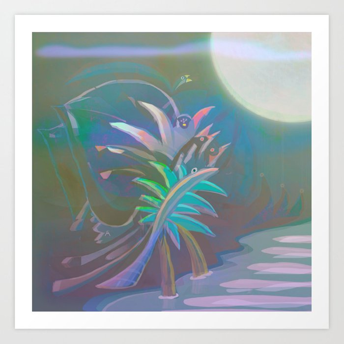 Misty Mystic Full Moon in the Tropical Jungle Art Print