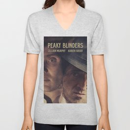 Peaky Blinders poster, Cillian Murphy is Thomas Shelby, Adrien Brody is Luca Changretta Unisex V-Neck
