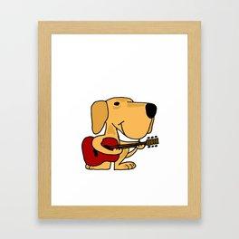 Funny Yellow Labrador Retriever Dog Playing Guitar Artwork Framed Art Print
