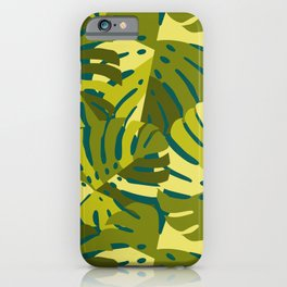 Monstera Leaves in Green iPhone Case