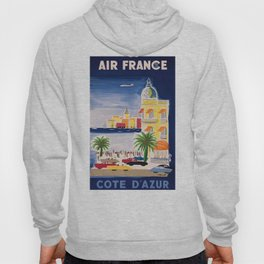 1952 Air France Cote D'Azur Travel Poster Hoody